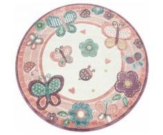 Paco Home Kinderteppich Volta 317, rund, 18 mm Höhe, niedliches Kinder Design in Pastell Farben, Kinderzimmer rosa Kinderteppiche mit Motiv Teppiche