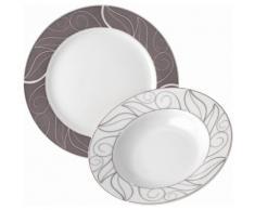 Tafelservice Porzellan 12 Teile GRENOBLE, weiß, Neutral, weiß-braun-grau