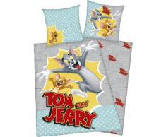 Kinderbettwäsche Tom & Jerry, mit witzigem Jerry Motiv grau Bettwäsche 135x200 cm nach Größe Bettwäsche, Bettlaken und Betttücher