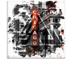 Artland Glasbild Chicago II, Amerika, (1 St.) schwarz Glasbilder Bilder Bilderrahmen Wohnaccessoires
