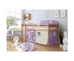 Ticaa Hochbett Rene, mit Rollrost und Textil-Set wahlweise Matratze, Buche beige Kinder Hochbetten Kinderbetten Betten