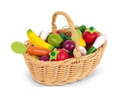 Janod Spiellebensmittel Obst- und Gemüse Sortiment im Korb bunt Kinder Ab 3-5 Jahren Altersempfehlung Kaufladensortimente
