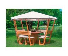 promadino Holzpavillon Rosenheim, (Set), BxT: 304x304 cm, inkl. Sitzgruppe braun Pavillons Garten Balkon