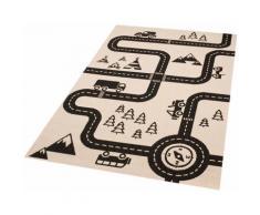 Zala Living Kinderteppich Road Map Charly, rechteckig, 4 mm Höhe, Straßen-Spielteppich, besonders weich durch Microfaser beige Kinder Kinderteppiche mit Motiv Teppiche