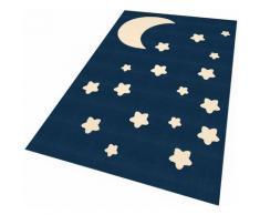 Kinderteppich Mond und Sterne Zala Living rechteckig Höhe 9 mm maschinell gewebt, blau, dunkelblau