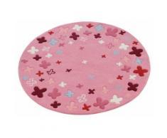 Kinderteppich Bloom Field Esprit rund Höhe 10 mm handgetuftet, rosa, Neutral, pink