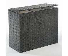 locker Wäschesortierer Nylon schwarz Wäschekörbe Wäschetruhen Badmöbel