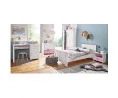 Parisot Jugendzimmer-Set (5-tlg) Biotiful mit 3-trg Kleiderschrank, weiß, weiß/rosa