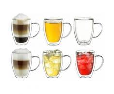 Creano Thermoglas, (Set, 6 tlg., 6er-Set), mit Henkel, 400 ml, 6-teilig farblos Doppelwandige Gläser Glaswaren Haushaltswaren Thermoglas