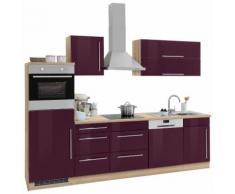 HELD MÖBEL Küchenzeile Samos, mit E-Geräten, Breite 280 cm EEK C lila Küchenzeilen Geräten -blöcke Küchenmöbel Arbeitsmöbel-Sets