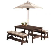 KidKraft Kindersitzgruppe Gartentischset dunkelbraun, mit Sitzauflagen und Sonnenschirm, beige-weiß gestreift braun Kinder Gartenmöbel Outdoor-Spielzeug