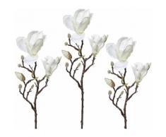 Creativ green Kunstzweig Magnolie (3 Stück) weiß Kunstblumen Kunstpflanzen Wohnaccessoires