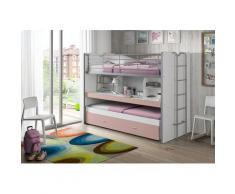 Vipack Hochbett Bonn, mit Schreibtisch und 3 Schlafgelegenheiten rosa Betten Möbel Aufbauservice