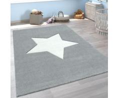 Paco Home Kinderteppich Cosmo 397, rechteckig, 18 mm Höhe, Kinder Design, Stern Motiv in Pastell-Farben, Konturenschnitt, Kinder- und Jugendzimmer grau Teppiche