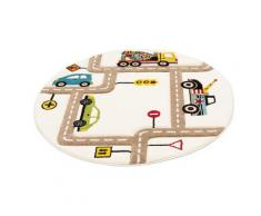 Lüttenhütt Kinderteppich Strassen, rund, 13 mm Höhe, handgearbeiteter Konturenschnitt, Straßen-Spielteppich beige Kinder Kinderteppiche mit Motiv Teppiche