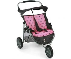 "CHIC2000 Puppen-Zwillingsbuggy ""Zwillings-Jogger Stars Grey"", rosa, Damen, rosa"