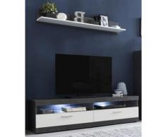 Lowboard MOVE Breite 160 cm inklusive gratis Wandregal Breite 135 cm, grau, Graphit/Weiß