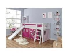 Ticaa Hochbett Ekki, mit Rollrost und Textil-Set wahlweise Matratze, Buche weiß Kinder Hochbetten Kinderbetten Betten