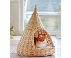 SILVIO design Tierkorb Rattan beige Katzenkörbe -kissen Katze Tierbedarf