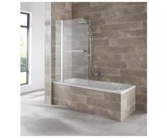 welltime Badewannenaufsatz Girona, mit verchromtem Handtuchhalter und Glasablagen silberfarben Duschwände Duschen Bad Sanitär