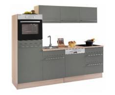 OPTIFIT Küchenzeile mit E-Geräten »Bern«, Breite 240 cm mit höhenverstellbaren Füßen, grau, basaltgrau/akaziefarben