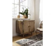 Home affaire Sideboard Snug, aus Rattan-Geflecht und massivem Mangoholz, schöne abgerundete Ecken, Breite 81 cm braun Sideboards Kommoden
