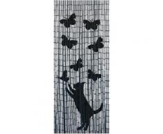 Türvorhang Katze&Schmetterling WENKO Hakenaufhängung 1 Stück, beige, schwarz-natur