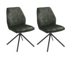 MCA furniture Esszimmerstuhl Ottawa, Vintage Veloursoptik mit Keder, Stuhl belastbar bis 120 Kg grün Esszimmerstühle Stühle Sitzbänke