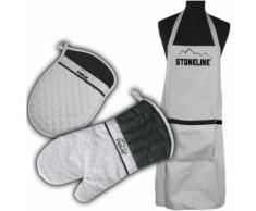 STONELINE Kochschürze (Set 3-tlg), grau, Neutral, grau-schwarz
