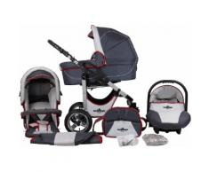 bergsteiger Kombi-Kinderwagen Capri, grey & red stripes, 3in1, 15 kg, Made in Europe grau Kinder Kombikinderwagen Kinderwagen Buggies