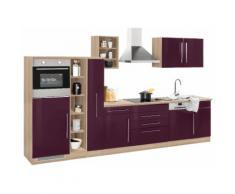 HELD MÖBEL Küchenzeile Samos mit E-Geräten Breite 350 cm mit Stangengriffen aus Metall, lila, aubergine Hochglanz/eiche