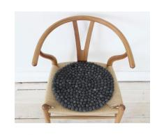 Wooldot Sitzkissen Uni Color, rund, Filzkugel-Teppich, reine Wolle, auch als Set bestellbar grau Stuhlkissen Kissen