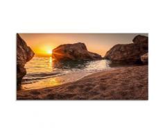 Artland Glasbild Sonnenuntergang und Strand beige Glasbilder Bilder Bilderrahmen Wohnaccessoires