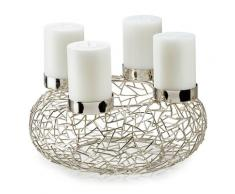 EDZARD Adventskranz Milano, Silberoptik silberfarben Kerzenhalter Kerzen Laternen Wohnaccessoires