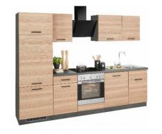 wiho Küchen Küchenzeile Esbo EEK D beige Küchenzeilen mit Geräten -blöcke Küchenmöbel Arbeitsmöbel-Sets