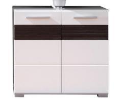 trendteam Waschbeckenunterschrank Mezzo mit Struktur-Front, braun, weiß Hochglanz - schokobraun/weiß matt