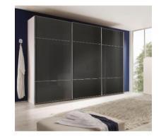 nolte Möbel Schwebetürenschrank Marcato 3, grau, Korpus polarweiss,Front Basaltglas