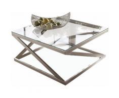 Leonique Couchtisch Coylin, rechteckiges Metallgestell mit einem Ablageboden aus Glas silberfarben Glas-Couchtische Glastisch Tische