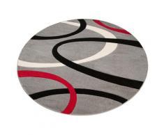 my home Teppich Bill, rund, 10 mm Höhe, mit Handgearbeiteten Konturenschnitt, Wohnzimmer grau Schlafzimmerteppiche Teppiche nach Räumen