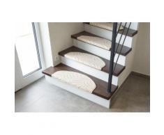 Andiamo Stufenmatte Amberg, halbrund, 9 mm Höhe, Hoch-Tief-Struktur, erhältlich als Set mit 2 Stück oder 15 beige Stufenmatten Teppiche