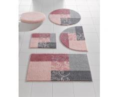 Badgarnitur mit Muster rosa Gemusterte Badematten