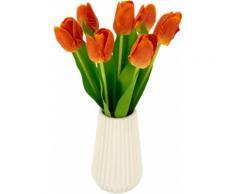 I.GE.A. Kunstblume Real-Touch-Tulpen, Vase aus Keramik orange Künstliche Zimmerpflanzen Kunstpflanzen Wohnaccessoires