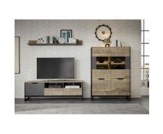 Places of Style Wohnzimmer-Set Malthe, (3 St.), im trendigen Design, 1 kleine Vitrine, Lowboard, Wandboard beige Moderne Wohnwände Schränke