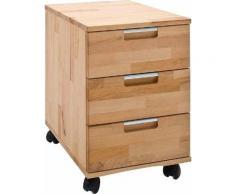 MCA furniture Rollcontainer Masimo, Massivholz Kernbuche geölt und gewachst, vormontiert beige Büroschränke Büromöbel