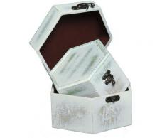 Ambiente Haus Aufbewahrungsbox Seifenholz Graues Holzkästchen-2er-Set a, (1 St.) weiß Körbe Boxen Regal- Ordnungssysteme Küche Ordnung