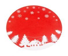 my home Teppich Weihnachtsdorf, rund, 15 mm Höhe, Tannenbaumteppich, Wohnzimmer rot Wohnzimmerteppiche Teppiche nach Räumen