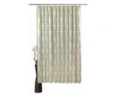 VHG Vorhang Fanny, Leinenoptik, Blume, Streifen gelb Wohnzimmergardinen Gardinen nach Räumen Vorhänge