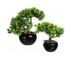 Creativ green Kunstbonsai Bonsai Lärche (2 Stück) grün Kunstpflanzen Wohnaccessoires