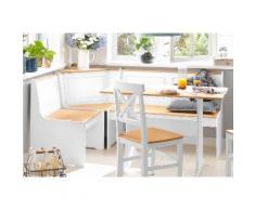 Home affaire Eckbankgruppe Sascha mit Tisch und Truhen-Eckbank, weiß, weiß/natur