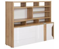 Maja Möbel Computerschrank eDJUST MINIOFFICE 5508, braun, Riviera Eiche - Lack weiß Spiegelglanz